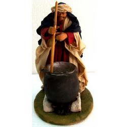 Personaggio per Presepe Ricottaio cm 15 terracotta e stoffa