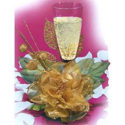 Rosa Anniversario 50 Anni in tessuto dorato cm 19