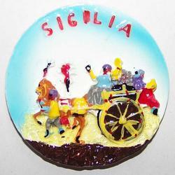 Souvenir magnete rotondo con carretto siciliano resina cm 6