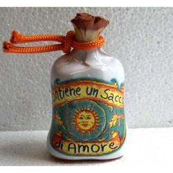Sacchetto con sole in ceramica cm 8x4.5x3.5