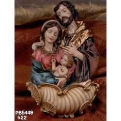 Acquasantiera Sacra Famiglia in resina cm 22
