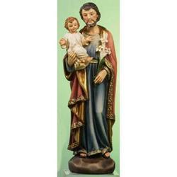 Statua San Giuseppe con bambino cm 13 in resina