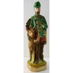 Statua San Uberto in gesso cm 20
