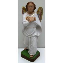 Statua Angelo Grabriele con veste bianca in gesso cm 30