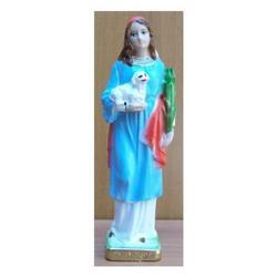 Statua Santa Agnese in gesso cm 20