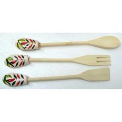 Set di 3 Mestoli con ceramica decorata cm 31