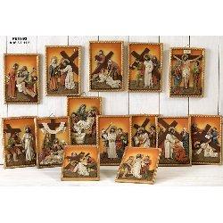 Set 14 quadri Via Crucis in resina cm 16.5