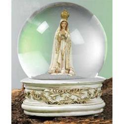 Sfera in vetro con Madonna di Fatima in resina cm 10