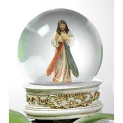 Sfera in vetro con Gesu Misericordioso in resina cm 10
