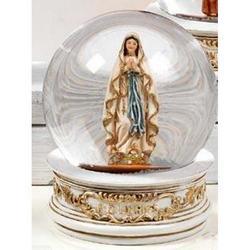 Sfera in vetro con Madonna di Lourdes in resina cm 6