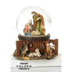 Sfera in vetro con Nativita in resina e musica cm 10