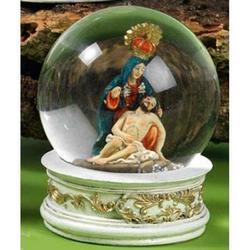 Sfera in vetro con Pieta in resina cm 10