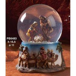 Sfera in vetro con Presepe in resina e musica cm 15.5