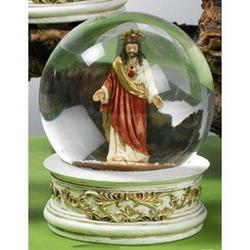Sfera in vetro con Sacro Cuore di Gesu in resina cm 10