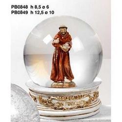 Sfera in vetro con San Francesco in resina cm 10