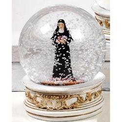 Sfera in vetro con Santa Rita in resina cm 10