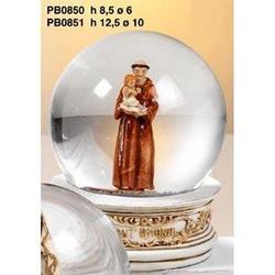 Sfera in vetro con Sant Antonio in resina cm 6