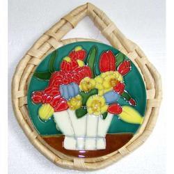 Sottopentola Fiori in ceramica cm 23x18.5