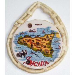 Sottopentola con Sicilia in ceramica cm 23x18.5
