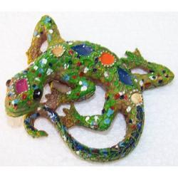 Magnete con Iguana decorata in resina cm 8x6