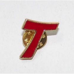 Spilla Tao oro smaltato rosso cm 2x1.5