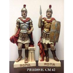 Coppia Statue Centurione Romano cm 62 in resina