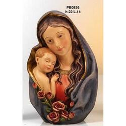 Statua Madonna con Bambino mezzo busto cm 22 resina