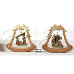 Statua Nativita campana cm 8 in resina Set 2 pz assortiti