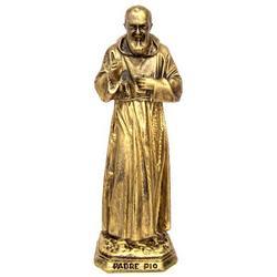 Statua Padre Pio cm 15.5 in resina color bronzo