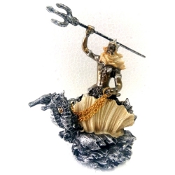 Statua di Poseidon in resina cm 12