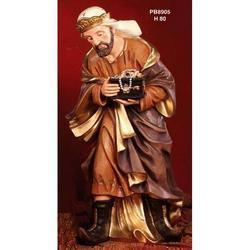 Statua Re Magio per Presepe con oro cm 80 in resina