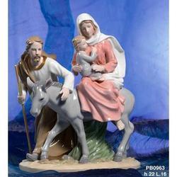Statua Sacra Famiglia su asino cm 22 in porcellana