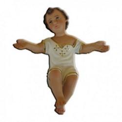 Statua Gesù Bambino a braccia aperte in resina cm 18