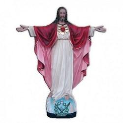 Statua Sacro Cuore di Gesù a braccia aperte in vetroresina cm 55