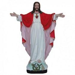 Statua Sacro Cuore di Gesù a braccia aperte in resina cm 40