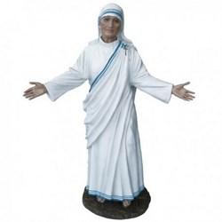 Statua Santa Madre Teresa di Calcutta a braccia aperte in vetroresina cm 110