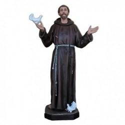 Statua San Francesco d'Assisi a braccia aperte e colombe in vetroresina cm 170