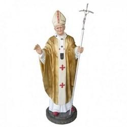 Statua Papa Giovanni Paolo II con pastorale di metallo in vetroresina cm 220