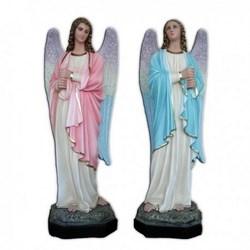 Coppia statue Angeli in piedi portacandele in vetroresina cm 110