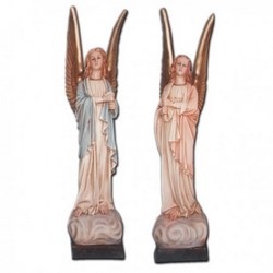 Coppia statue Angeli in piedi portacandele in vetroresina cm 80