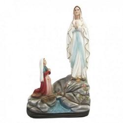 Statua Madonna di Lourdes con Bernadette in resina cm 46
