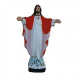 Statua Sacro Cuore di Gesù a braccia aperte in resina cm 30