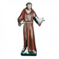 Statua San Francesco d'Assisi a braccia aperte e colombe in vetroresina cm 85