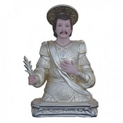 Statua San Maurizio mezzo busto in resina cm 35
