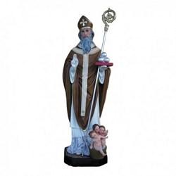 Statua San Nicola di Bari con mitria e bimbi in vetroresina cm 170