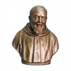 Statua San Pio da Pietrelcina mezzo busto in vetroresina cm 60