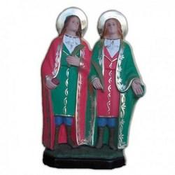 Statua Santi Cosma e Damiano in resina cm 25