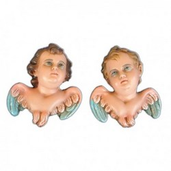Statue Testine Angeli in coppia di resina cm 15