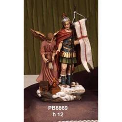 Statua San Floriano con Angelo cm 12 in resina