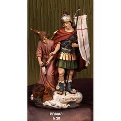 Statua San Floriano con Angelo cm 20 in resina
